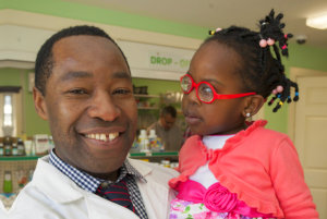 pharmacist and a child